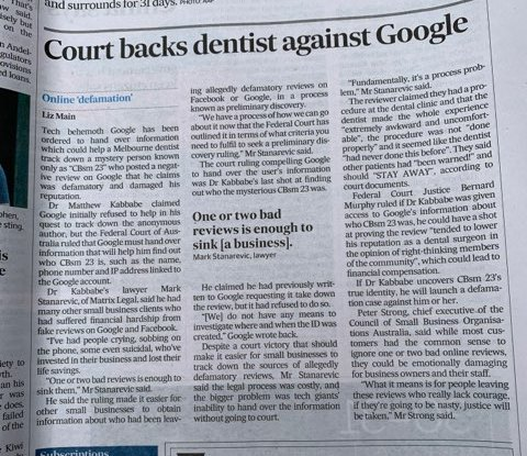 court backs dentist against GOogle